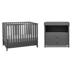 Athena Mila 3 in 1 Convertible Crib with Changing Table in Gray
