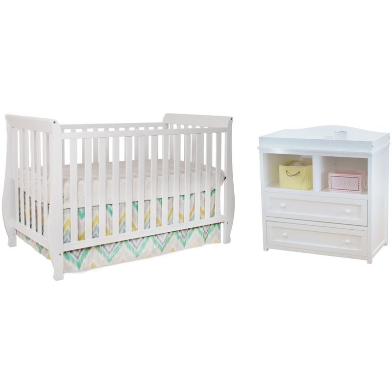AFG Naomi 4 In 1 Convertible Crib With Dresser Changing Table In White
