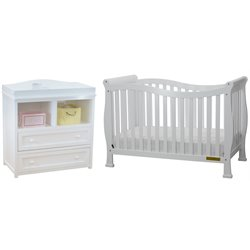 AFG Nadia 4-in-1 Convertible Crib with Dresser Changing Table