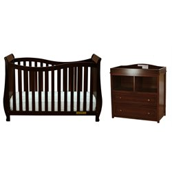 AFG Lorie 4-in-1 Convertible Crib with Dresser Changer in Espresso