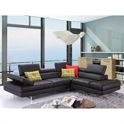 Catania Italian Leather Right Facing Sectional in Black