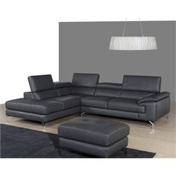 Catania Italian Leather Left Facing Chaise Sectional in Gray