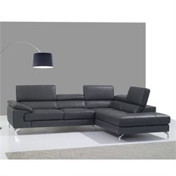 Catania Leather Right Facing Sectional in Gray