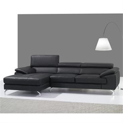 Catania Leather Left Facing Mini Sectional in Black