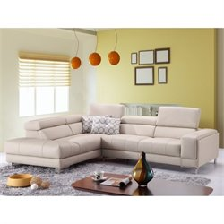Catania Leather Left Facing Sectional in Gray