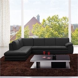 Catania Italian Leather Left Facing Sectional in Black