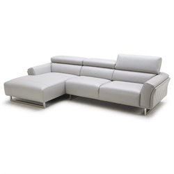 Catania Italian Leather Left Facing Sectional in Gray
