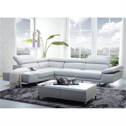 Catania Italian Leather Left Facing Sectional in White