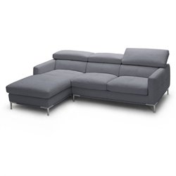 Catania Italian Leather Left Facing Arm Sectional in Gray