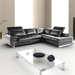 Catania Oregon II Leather Right Facing Sectional in Black