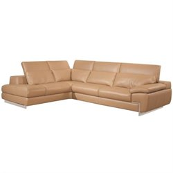 Catania Oregon II Leather Left Facing Sectional in Mouton