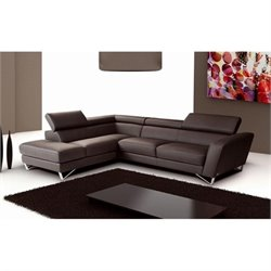 Catania Leather Left Facing Sectional in Chocolate