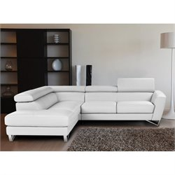 Catania Leather Left Facing Sectional in White