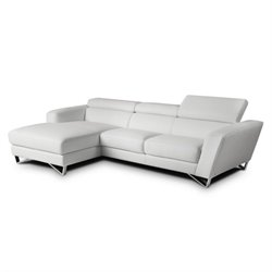 Catania Leather Left Facing Mini Sectional in White
