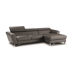 Catania Leather Right Facing Mini Sectional in Gray