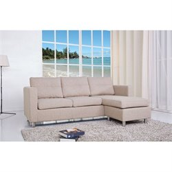 Brika Home Fabric Convertible Sofa with Ottoman in Camel