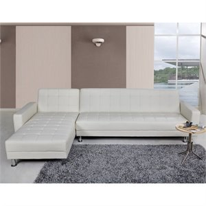 Brika Home Faux Leather Convertible Sectional in White