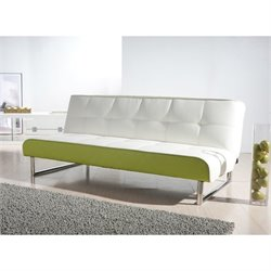 Brika Home Faux Leather Convertible Sofa in White and Lime