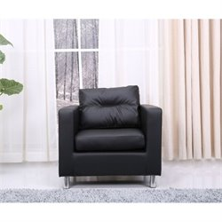 Brika Home Faux Leather Accent Chair in Black