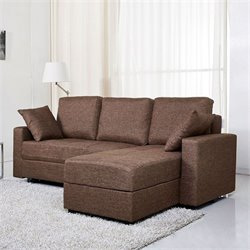 Brika Home Fabric Convertible Storage Sectional in Ceramic