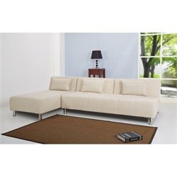 Brika Home Fabric Convertible Sofa in Beige