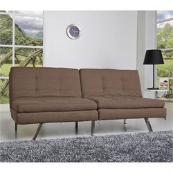Brika Home Fabric Double Cushion Convertible Sofa in Coffee
