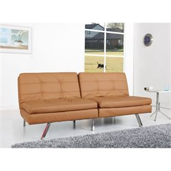 Brika Home Faux Leather Convertible Sofa in Camel