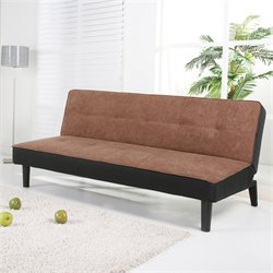 Brika Home Fabric Convertible Sofa in Brown and Black