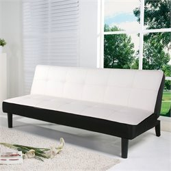 Brika Home Faux Leather Convertible Sofa in White and Black