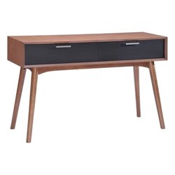 Brika Home Console Table in Walnut and Black