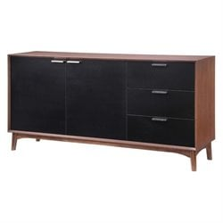 Brika Home Buffet in Walnut and Black