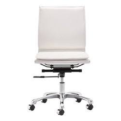 Brika Home Modern Leatherette Armless Office Chair in White