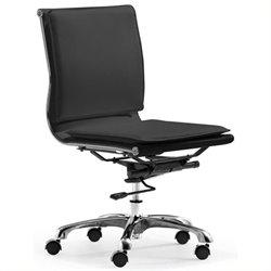 Brika Home Modern Leatherette Armless Office Chair in Black