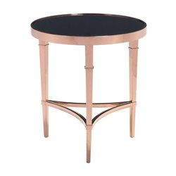 Brika Home Glass End Table in Rose Gold and Black
