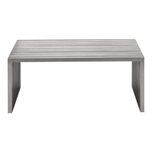 Brika Home Modern Square Coffee Table in Stainless Steel