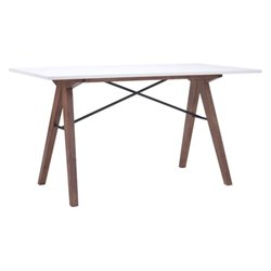 Brika Home Writing Desk in Walnut and White