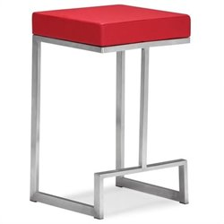 Brika Home Modern Leatherette Bar Chair in Red