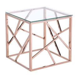 Brika Home Glass End Table