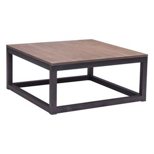 Brika Home Civic Center Square Coffee Table in Distressed Natural