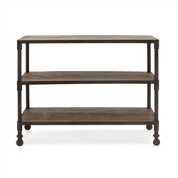 Brika Home Mission Bay Wide 3 Level Shelf in Distressed Natural Finish