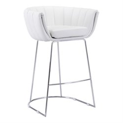 Brika Home Faux Leather Bar Stool in White