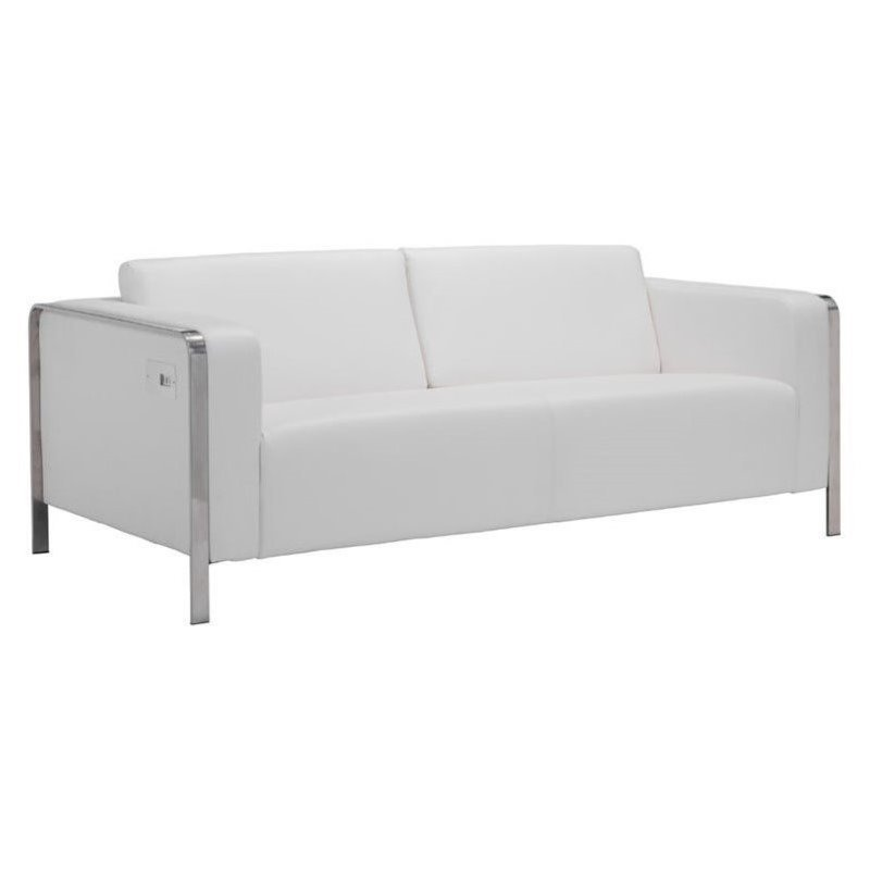Brika Home Faux Leather Sofa In White