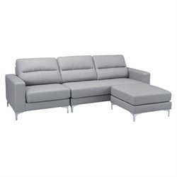 Brika Home Faux Leather Sectional in Gray