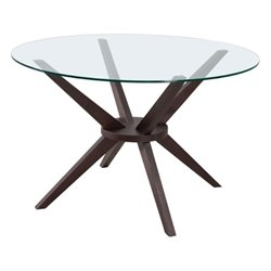 Brika Home Glass Dining Table in Dark Walnut
