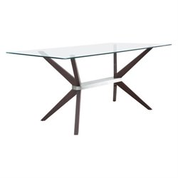 Brika Home Victory Glass Dining Table in Dark Walnut