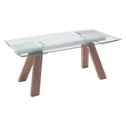 Brika Home Extendable Glass Dining Table in Walnut