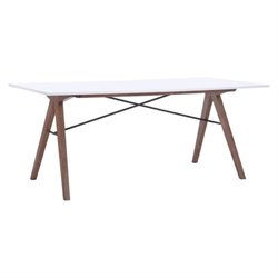 Brika Home Rectangiar Glass Dining Table in Walnut