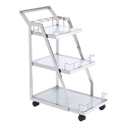 Brika Home Glass Kitchen Cart in Silver