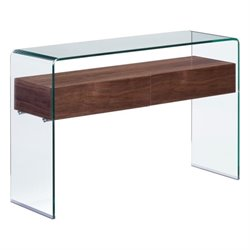 Brika Home Glass Console Table in Walnut