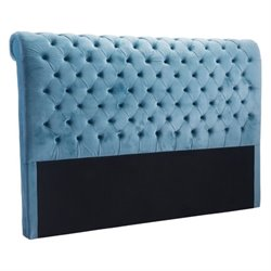 Brika Home Velvet King Headboard in Blue